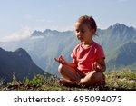 little cute girl meditating on... | Shutterstock . vector #695094073