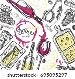 hand drawn doodle wine...   Shutterstock .eps vector #695095297