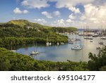 the magical english harbour in... | Shutterstock . vector #695104177