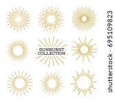 set of sunburst design elements ... | Shutterstock . vector #695109823