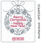 christmas greeting card with... | Shutterstock . vector #695109913