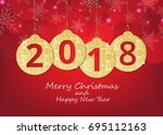 merry christmas and happy new... | Shutterstock .eps vector #695112163