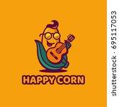 happy corn. logo   illustration ... | Shutterstock .eps vector #695117053