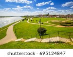 old town of tczew at vistula...   Shutterstock . vector #695124847