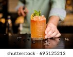 bartender finished decorating... | Shutterstock . vector #695125213