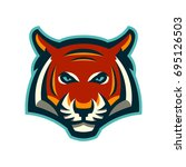 angry tiger head mascot. modern ... | Shutterstock .eps vector #695126503