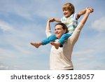 portrait of happy mother and... | Shutterstock . vector #695128057