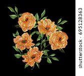vector embroidery with camellia ... | Shutterstock .eps vector #695128363
