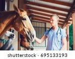 veterinary medicine at the farm.... | Shutterstock . vector #695133193