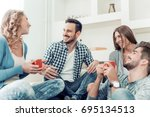 group of friends talking and... | Shutterstock . vector #695134513