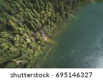 green forest with lake from... | Shutterstock . vector #695146327