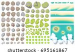 set of landscape elements.  top ... | Shutterstock .eps vector #695161867