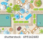seamless pattern. summer pool... | Shutterstock .eps vector #695162683