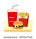 fast lunch of french fries ... | Shutterstock .eps vector #695167243