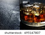 selective focus pure whisky... | Shutterstock . vector #695167807