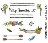 set of hand drawn vintage decor ... | Shutterstock .eps vector #695169127