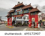 china town of davao city ... | Shutterstock . vector #695172907