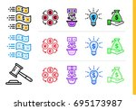 unique set of linear icons in... | Shutterstock . vector #695173987