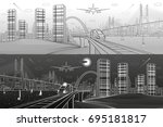 infrastructure and transport... | Shutterstock .eps vector #695181817
