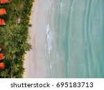 drone top view beach and sea ... | Shutterstock . vector #695183713
