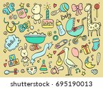 set of hand drawn baby and... | Shutterstock .eps vector #695190013