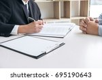 close up of gavel  male lawyer... | Shutterstock . vector #695190643