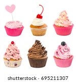 set of cupcakes isolated on... | Shutterstock . vector #695211307