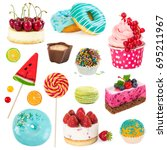 set of sweet dessert isolated... | Shutterstock . vector #695211967