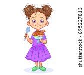 satisfied little girl is... | Shutterstock .eps vector #695227813