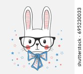 funny bunny portrait   Shutterstock .eps vector #695230033