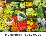 thai vegetables and herbs | Shutterstock . vector #695239303