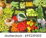 thai vegetables and herbs | Shutterstock . vector #695239303