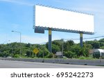 large blank billboard located... | Shutterstock . vector #695242273
