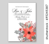 poinsettia wedding invitation... | Shutterstock .eps vector #695245387
