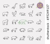 animals line icons set | Shutterstock .eps vector #695249137