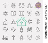 religion line icon set | Shutterstock .eps vector #695249437