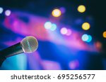 microphone in the  conference... | Shutterstock . vector #695256577