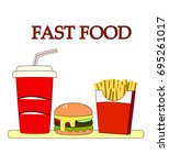 lunch with french fries  hot... | Shutterstock .eps vector #695261017