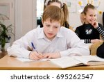 school student at the class  ...   Shutterstock . vector #695262547