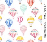 cute balloon watercolor pattern.... | Shutterstock . vector #695272117