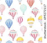 cute balloon watercolor pattern....   Shutterstock . vector #695272117