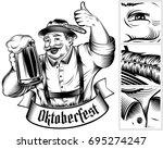 beer festival oktoberfest. man... | Shutterstock .eps vector #695274247