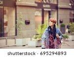 beautiful woman. city scenes....   Shutterstock . vector #695294893