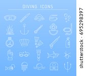 diving icons in line style. | Shutterstock .eps vector #695298397