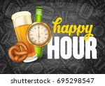 happy hour. free beer. vintage... | Shutterstock .eps vector #695298547