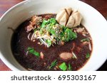 Small photo of close up Fine Cut White Rice Noodle with Thicken Soup