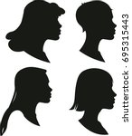 vector silhouettes of female... | Shutterstock .eps vector #695315443