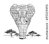 african elephant hand drawn...   Shutterstock .eps vector #695319493