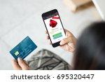 online shopping concept.female... | Shutterstock . vector #695320447