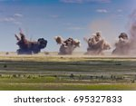 explosion at a military... | Shutterstock . vector #695327833